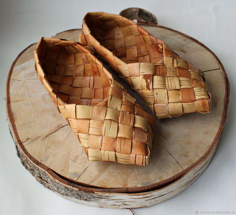 Baby sandals of birch bark 'Berestycki', National shoes, Vologda,  Фото №1