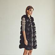 Одежда ручной работы. Ярмарка Мастеров - ручная работа Меховой жилет из лисы черный удлиненный. Handmade.