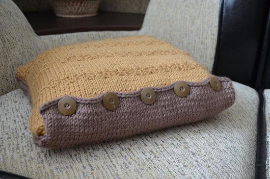 Текстиль, ковры ручной работы. Ярмарка Мастеров - ручная работа. Купить Чехол для подушки вязанный Кофе с молоком. Handmade.