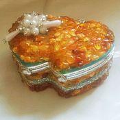 Для дома и интерьера handmade. Livemaster - original item Jewelry box Pink amber decor mirror gift girl girl birthday, christmas. Handmade.