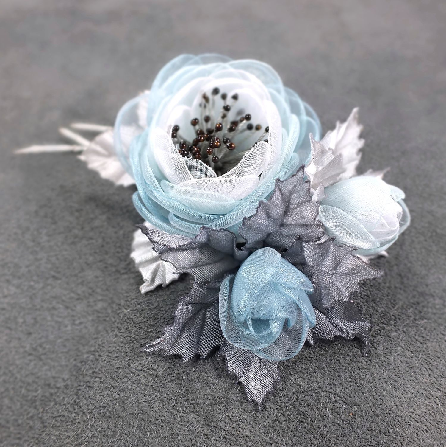 Valley Cloud Colors. Brooch-bouquet-boutonniere, handmade of fabric, Brooches, St. Petersburg,  Фото №1