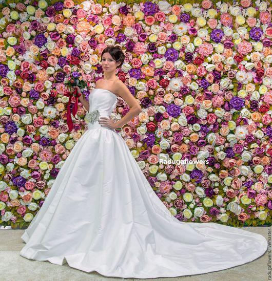 Свадебные цветы ручной работы. Ярмарка Мастеров - ручная работа. Купить Цветочная стена из текстильных цветов Фотозона  Самара Аренда. Handmade.