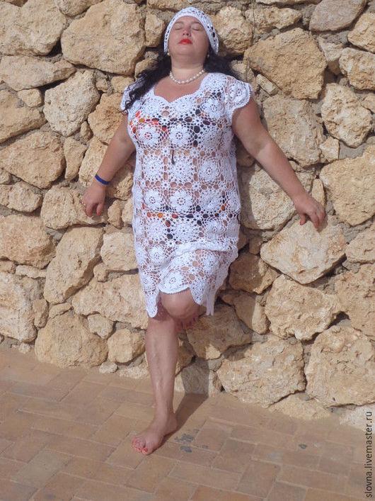 Платья ручной работы. Ярмарка Мастеров - ручная работа. Купить Ажурное летнее платье. Handmade. Белый, платье вязаное