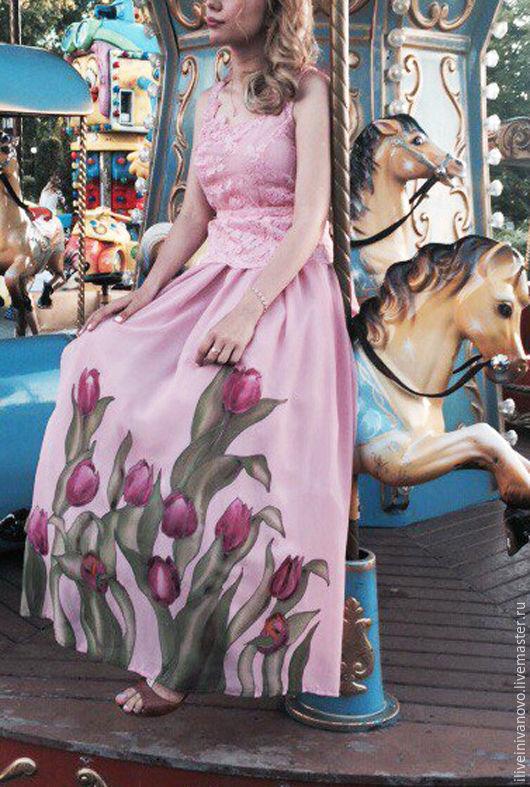 Платья ручной работы. Ярмарка Мастеров - ручная работа. Купить Работа на заказ . Платье на выпускной бал. Handmade. Розовый, тюльпаны