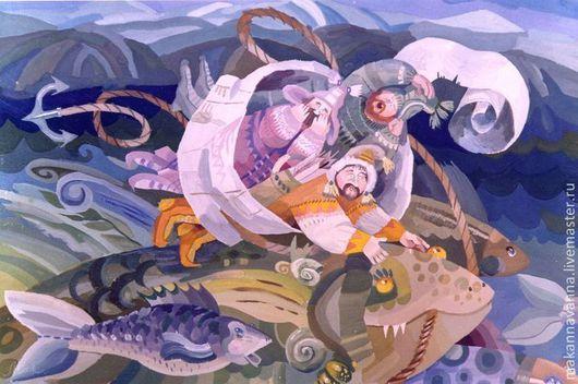 Фантазийные сюжеты ручной работы. Ярмарка Мастеров - ручная работа. Купить саамская сказка. Handmade. Сказка, гуашь, рыбак