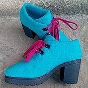 """Обувь ручной работы. Ярмарка Мастеров - ручная работа Ботиночки на каблуке 7 см """"Бирюзовые"""". Handmade."""