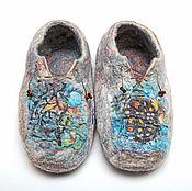 """Обувь ручной работы. Ярмарка Мастеров - ручная работа Валяные из шерсти тапочки """"Потертый Зимний Пейзаж"""". Handmade."""