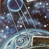 """Аксессуары ручной работы. Ярмарка Мастеров - ручная работа Галстук """"Филателисту. Космический. """" натуральный шёлк, ручная роспись. Handmade."""