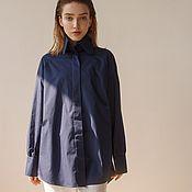 Одежда handmade. Livemaster - original item Loose-fitting Navy blue blouse. Handmade.