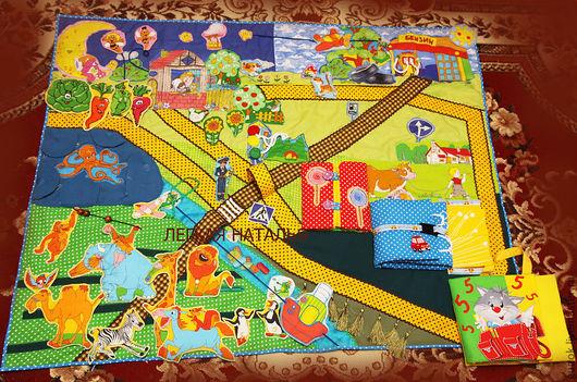 """Развивающие игрушки ручной работы. Ярмарка Мастеров - ручная работа. Купить Развивающий коврик """"Мой маленький мир""""-3. Handmade."""