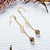Украшения handmade. Livemaster - original item Long gold Duo earrings with citrine and rauchtopaz. Handmade.