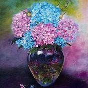 Картины и панно handmade. Livemaster - original item The painting with the colors of the Beautiful hydrangea oil painting. Handmade.
