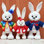 Куклы и игрушки ручной работы. Ярмарка Мастеров - ручная работа Зайка Фроська с мамой и папой. Handmade.