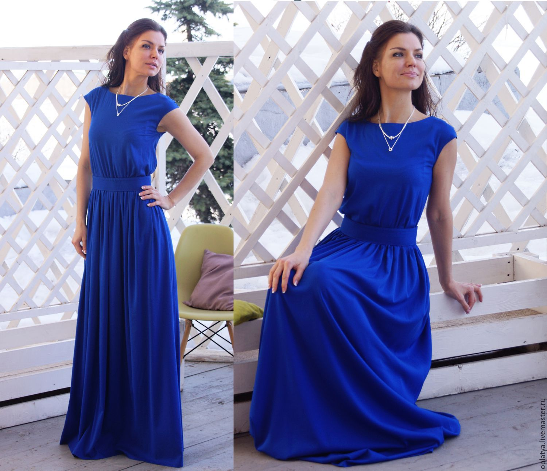 Голубое платье в пол цена