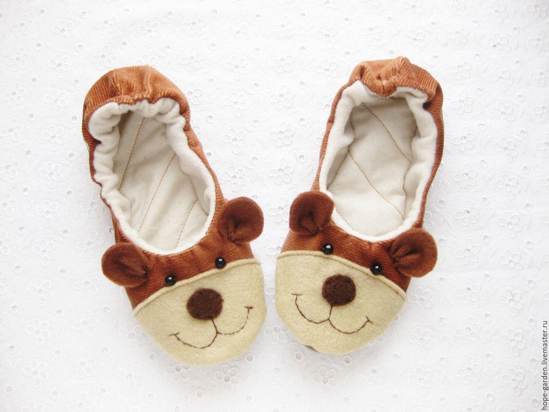 """Детская обувь ручной работы. Ярмарка Мастеров - ручная работа. Купить Тапочки детские """"Мишки"""" ,тапочки, для детей. Handmade. Медведь"""