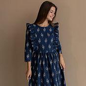 Одежда handmade. Livemaster - original item Linen dress in dark blue with wings, print flowers. Handmade.