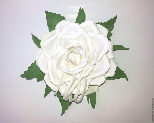 """Броши ручной работы. Ярмарка Мастеров - ручная работа. Купить Брошь """"Белая роза"""" из фоамирана. Handmade. Белый, брошь из фоамирана"""