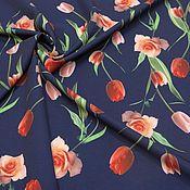 Ткани ручной работы. Ярмарка Мастеров - ручная работа ткань твил принт тюльпаны на синем. Handmade.