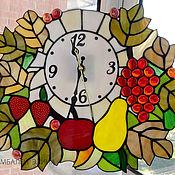 """Витражные часы """"Фруктовые с листьями"""""""