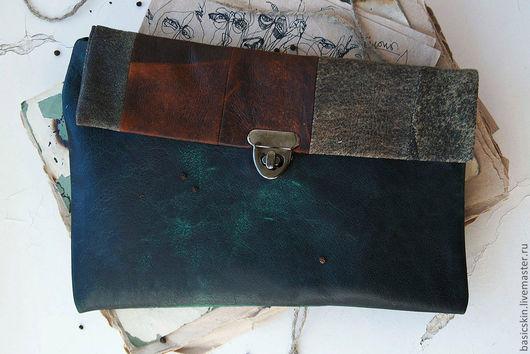 Женские сумки ручной работы. Ярмарка Мастеров - ручная работа. Купить Клатч Техас. Handmade. Тёмно-зелёный, изумрудный, ржавый