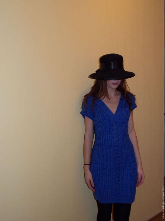 Платья ручной работы. Ярмарка Мастеров - ручная работа. Купить Синяя туника косами.. Handmade. Синий, платье вязаное