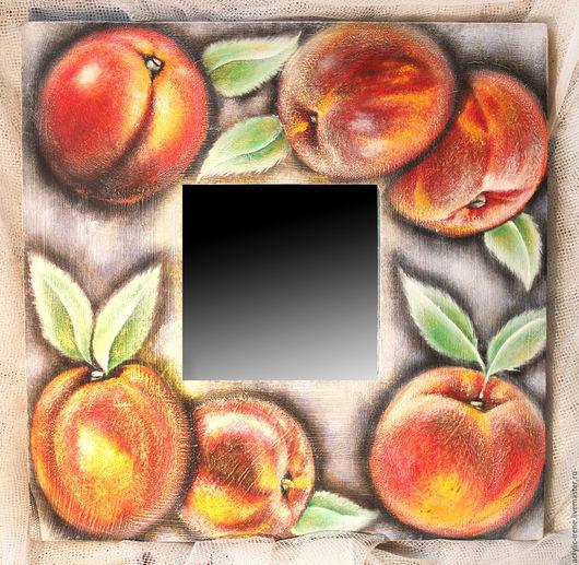 Зеркала ручной работы. Ярмарка Мастеров - ручная работа. Купить Зеркало Сладкие персики. Handmade. Акриловые краски, фрукты, зеркало