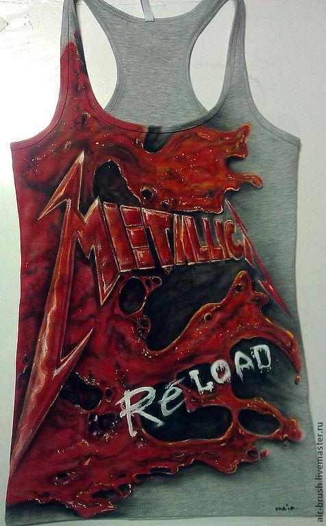 """Футболки, майки ручной работы. Ярмарка Мастеров - ручная работа. Купить Майка с рисунком """" Metallica"""". Handmade. Серо-красный"""