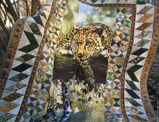 """Текстиль, ковры ручной работы. Ярмарка Мастеров - ручная работа. Купить Одеяло-покрывало лоскутное """"Дикая кошка"""". Handmade. Леопард"""