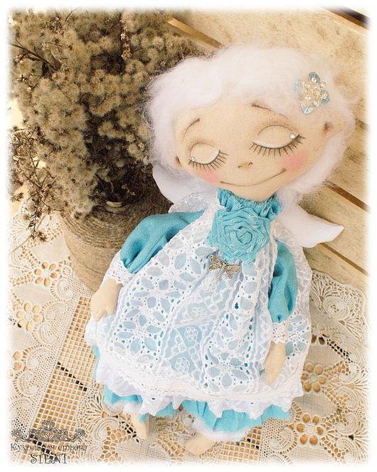 Коллекционные куклы ручной работы. Ярмарка Мастеров - ручная работа. Купить Мечтающий Ангел. Handmade. Бирюзовый, кукла текстильная, хлопок