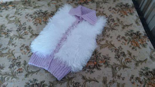 Одежда для девочек, ручной работы. Ярмарка Мастеров - ручная работа. Купить Жилет  снежная сирень. Handmade. Бледно-сиреневый, акрил