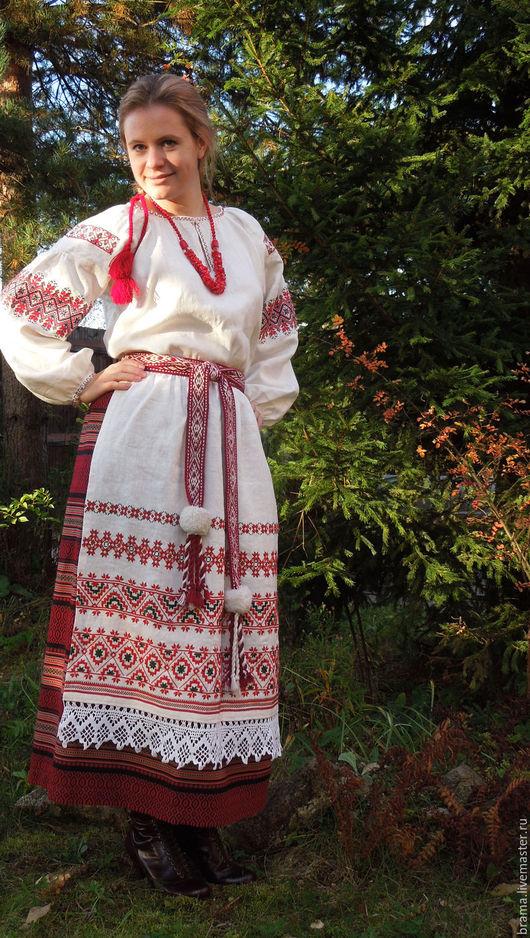 Одежда ручной работы. Ярмарка Мастеров - ручная работа. Купить Фартук из белого натурального льна, украшен ручной вышивкой.. Handmade.