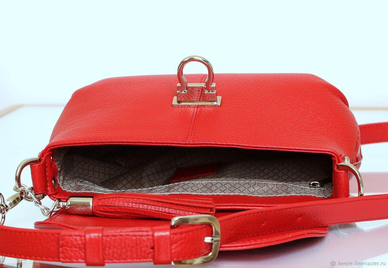 fb85119c87be Женские сумки ручной работы. Сумка кожаная женская ' Flap ' красная мини'.