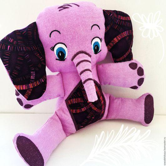 Игрушки животные, ручной работы. Ярмарка Мастеров - ручная работа. Купить Лиловый слоник. Текстильная игрушка с машинной вышивкой.. Handmade.