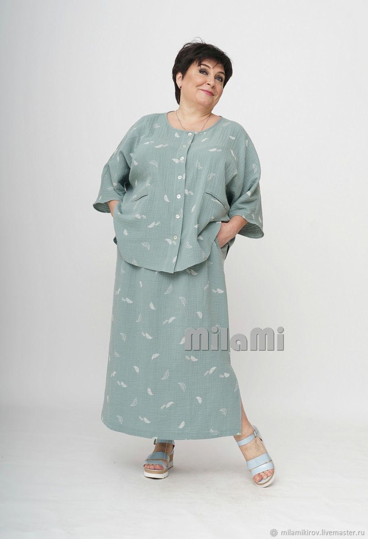 Boho skirt loose, straight muslin Art. 4531, Skirts, Kirov,  Фото №1