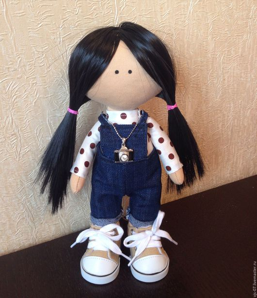 Портретные куклы ручной работы. Ярмарка Мастеров - ручная работа. Купить Текстильная кукла. Handmade. Тёмно-синий, малышка, трикотаж
