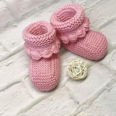 Работы для детей, ручной работы. Ярмарка Мастеров - ручная работа Розовые пинетки для новорожденных. Handmade.