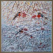 Картины и панно ручной работы. Ярмарка Мастеров - ручная работа Картина маслом Снегири. Handmade.