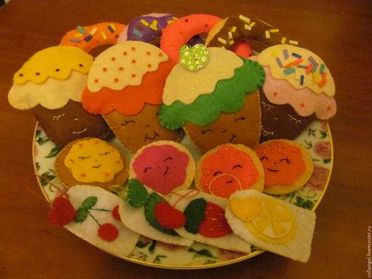 Еда ручной работы. Ярмарка Мастеров - ручная работа. Купить Сладости из фетра. Handmade. Комбинированный, кексы, печенье, мороженое
