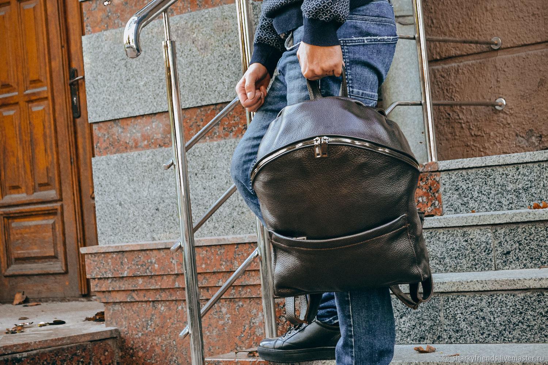 Коричневый мужской рюкзак, Кожаный городской рюкзак, Рюкзаки, Днепр,  Фото №1