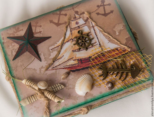 """Подарочная упаковка ручной работы. Ярмарка Мастеров - ручная работа. Купить Коробочка """"Бриз"""". Handmade. Шкатулка, море, бумага для скрапбукинга"""