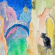 Картины и панно handmade. Livemaster - original item Venice Cat and Night Painting Watercolor 15h20 cm. Handmade.
