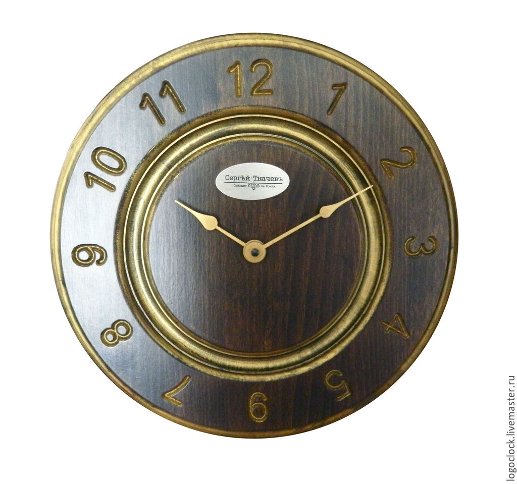 A wall clock. Beech. Old gold. Two, Watch, Moscow,  Фото №1