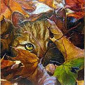 Картины и панно ручной работы. Ярмарка Мастеров - ручная работа Рыжая осень и кот. Handmade.