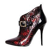 Обувь ручной работы handmade. Livemaster - original item Elegant ankle boots under reptile genuine leather Burgundy. Handmade.