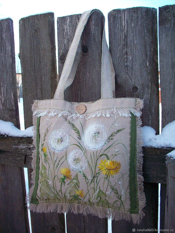 Льняная сумка Одуванчики. Ручная роспись