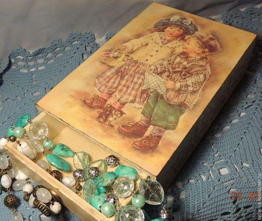 """Корзины, коробы ручной работы. Ярмарка Мастеров - ручная работа. Купить Короб-пенал """"Дети"""". Handmade. Бежевый, шкатулка для мелочей"""