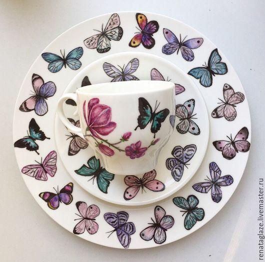 Сервизы, чайные пары ручной работы. Ярмарка Мастеров - ручная работа. Купить Роспись фарфора Набор Вальс бабочек. Handmade.