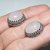 Украшения handmade. Livemaster - original item Earrings Maria rose quartz, 925 sterling silver. Handmade.