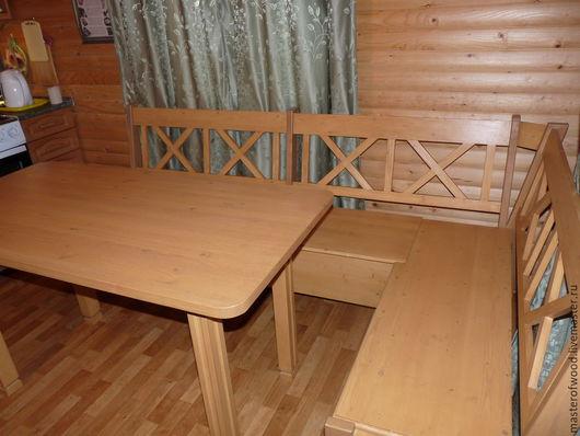 Мебель ручной работы. Ярмарка Мастеров - ручная работа. Купить Скамейка угловая из дерева. Handmade. Разноцветный, мебель из дерева, ольха