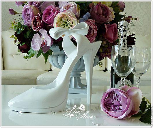 """Вазы ручной работы. Ярмарка Мастеров - ручная работа. Купить """"Туфелька"""" - для декорирования или просто для интерьера. Handmade. Белый"""